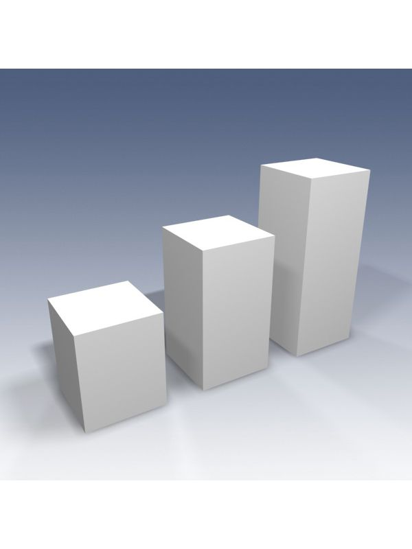 Presentation column, set of 3 pieces in varying heights